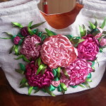 Satin Ribbon Embroidered Peonies
