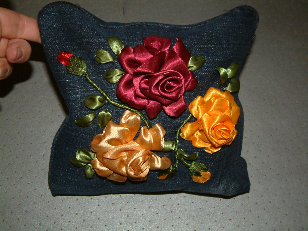 Ribbon embroidered Roses