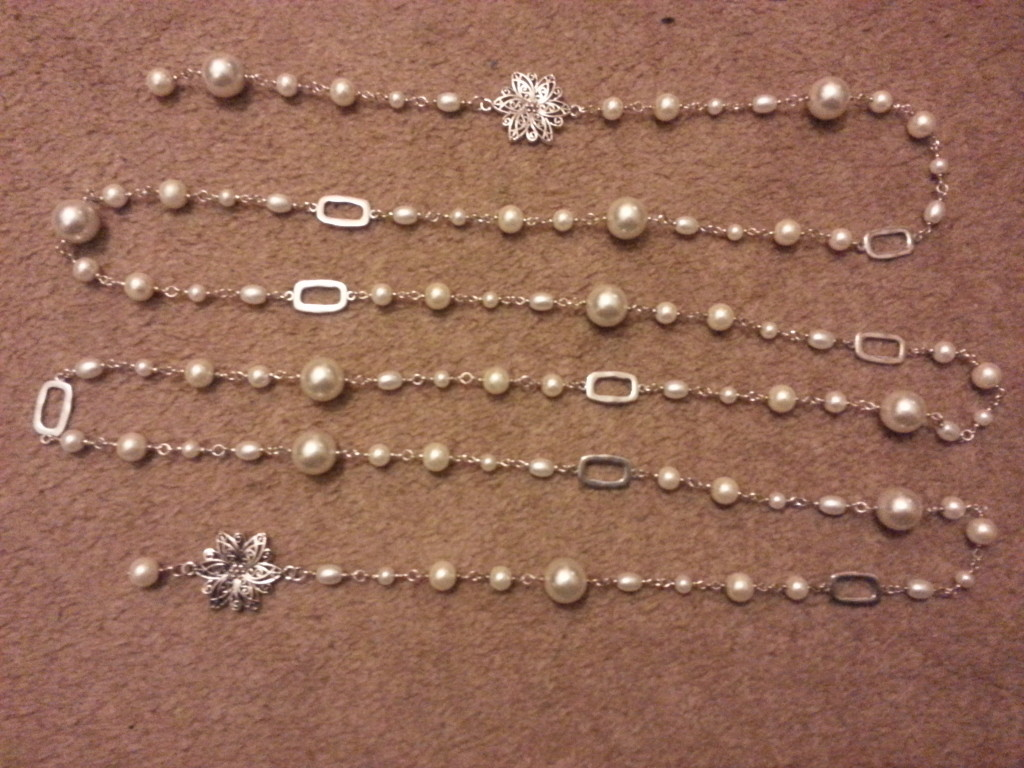 Long chain black pearl necklaces