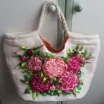 Ribbon embroidery. Bag decoration tutorial